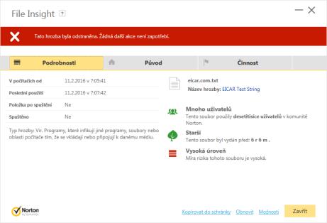 Norton File Insight detaily hrozby